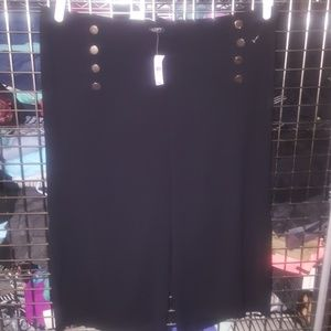 Loft 24w plus-size black culottes nwt gold buttons